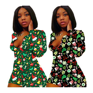 S-XXXL Christmas Women Jumpsuits Long Sleeve Romper Shorts Xmas Santa Claus Snowman Autumn Winter Home Leisure Wear Jumpsuit F111805
