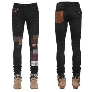 2020 Hohe Qualität Herrenjeans Distressed Motorrad Biker Jeans Slim Ripping Loch Streifen Berühmte Denim Hosen Jeans