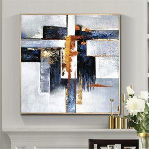 Abstract geometrico 100% dipinto a mano pittura a olio su tela pitture murali di arte vintage minimalista poster arte moderna home decor