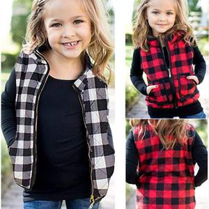 Çocuk Çocuklar Kızlar Pamuk Yastıklı Yelek Kış Ceketler Fermuar Coat Moda Ekose Paketlenmiş Yelek Sıcak Tank Dış Giyim Giysileri Tops LY11262