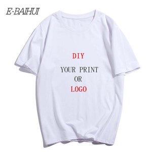 E-BAIHUI Custom Print T-shirt 100% Cotton Design Men's Pure Color Round Neck Short-Sleeved Logo Free DIY Printed Tshirt T-0092