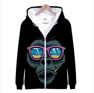 Gorilla 3D Zipper Hoodies men women kids Fashion movie Gorilla 3D Hoody Zipper sweatshirts animal Long Sleeve Coat