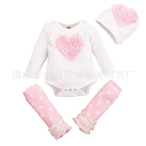 Baby Clothing Sets Climbing Conjoined Cotton Long Sleeves Hat Trousers Three Piece Set Pink White Autumn Winter New Pattern Hot Sale 26ty M2