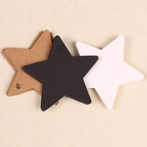 Wholesale- 100Pcs Star Kraft Paper Label Wedding Christmas Halloween Party Favor Price Gift Card Luggage Tags White Black Brown 3 Colors1