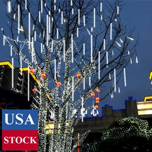 Waterproof Cascading LED Meteor Shower Rain Lights Outdoor for Holiday Party Wedding Christmas Tree Party Tree Decoration Birthday Gift