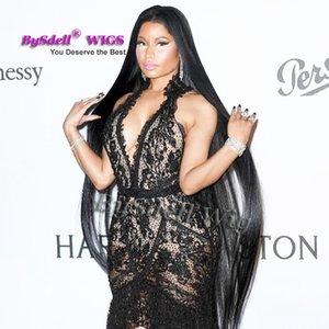 Ünlü Nicki Minaj Süper Uzun Peruk Sentetik Siyah 32 inç / 52 inç / 70 inç bel / ayak uzunluğu ipek düz saç tam peruk kafa derisi peruk