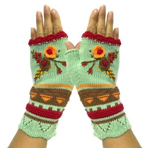 New High Quality Mittens Handmade Women's Autumn Flower Warm Woolen Knitted Winter Gloves Half Finger Embroidery Gloves #T1G