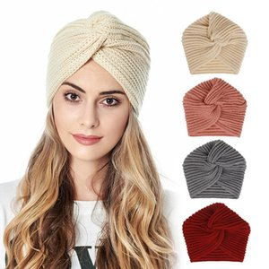 European Style Twisted Knot Braided Hair Band Pure Color Knitted Hat Imitation Cashmere 1Pcs Elastic Caps For Women Keep Warm