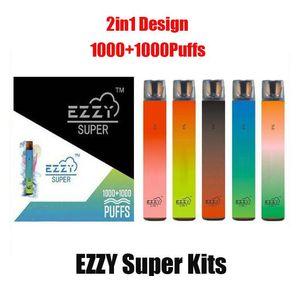Factory Price Ezzy Super 2In1 Disposable Vape Pen Device Pods 2000+puffs 900mah Batterry Vaporizer Pens 6.5ml EMPTY Pod PK Lux Air Bar