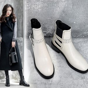Zorssar Ladies Riding Boots Short Boots Women Shoes With Cow Suede Ankle Willow Nail Belt Buckle Women's Short Knight Boot
