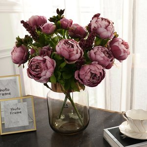 2 pcs Artificial high-end Silk flower 13 fork peony Bouquet for wedding decoration Home living room decoration Fake flowers Z1120