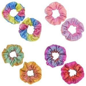 Women Shiny Laser Scrunchies Hair Band Rope Fashion Elastic Hair Ring Girls Ponytail Holder Circle Gradient Scrunchie Headband Gifts