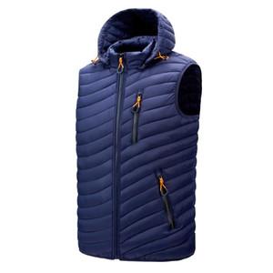 Down Jackets Men Zipper Vest Hat Removable Thick Warm Winter Jacket Men Waterproof Fashion 2020 New Duck Down Man's Coats Black