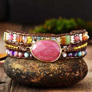 Leather Wrap Bracelet W  Stones Multi Color Natural Beads Crystal Weaving Statement Art Bracelet Gifts Q1201