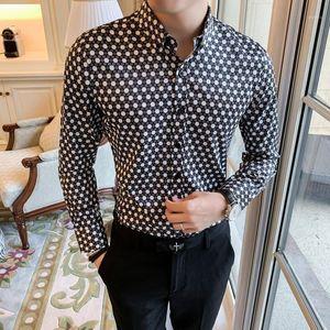 Retro Brand Casual Shirts Men 2020 Designer Shirt Men Dress Shirt Dot Printing Stylish Long Sleeve Lapel Neck Streetwear Tops1