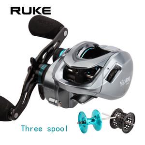 RUKE New Casting Rolle, Drei Spool Angelrolle, 11 + 1 Lager.Brake Kraft 8 kg, Getriebeverhältnis 8.1: 1, Freies Verschiffen Z1128