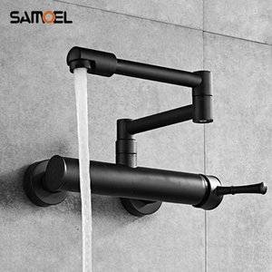 Newest Brass Black Wall Mounted Dual Hole Kitchen Sink Foldable Mixer Tap Rotating Cold Hot Water Faucets B3318 T200424