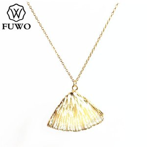 FUWO Natural White Coral Necklace with Gold Trimmed Real Seashell Beach Boho Jewelry For Women Gift NC508