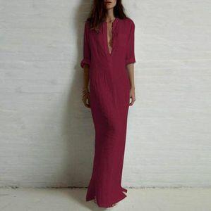 European and American dress women long-sleeved slim deep V-neck sexy split pencil skirt