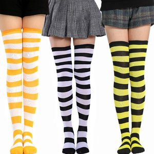 Fashion Striped Thigh High Socks Women Sexy Stocking Knee High Socks Soft Breathable Elastic Skateboard Long Women 1 Pair