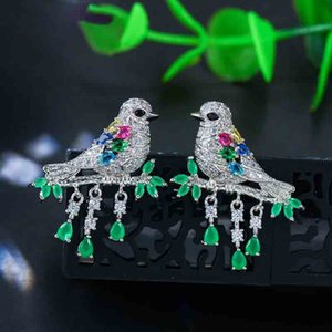 Lovely Multicolor Crystal Pave Green CZ Stone Hanging Drop Bird Earrings Ladies Jewelry for Prom Dress Accessories
