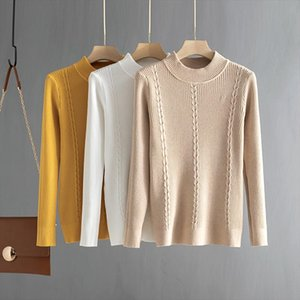 Women Basic Sweater 2020 Autumn Winter Thick Knitwear Long Sleeve Pullovers Sweter Mujer Solid Crewneck Sweaters Top