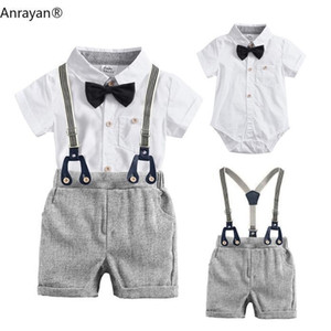 New Clothing Set Summer Toddler Kids Baby Boys Clothes Suit Striped Tie Shirts+Overall 2PCS Outfits Children Costumes Y200323