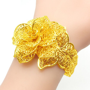 Luxury Filigree Cuff Bangle Yellow Gold Filled Flower Shaped Women Wedding Bridal Opening Bracelet Y1126