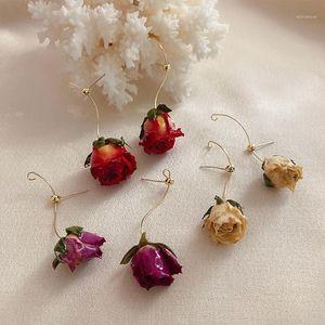 Ретро ручной работы вечная роза сушеные реальные цветочные серьги Новый дизайн мода ювелирные изделия для женщин натуральная роза лепесток падение серьги 20201