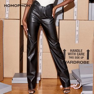 Homophony Woman Autumn and Winter Pocket Pu Buttocks Fleece Leather Pants Trousers Women 2020 Ropa Muje