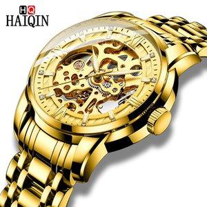 Haiqin التلقائي الميكانيكية الرجال الساعات الفريدة الهيكل العظمي الذهب ساعة اليد للماء كامل الفولاذ المقاوم للصدأ ووتش الرجال reloj hombre