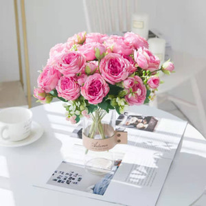 محاكاة الأبيض الزهور الاصطناعية الحرير الفاوانيا روز الزفاف المزهريات ديكور العروس باقة رغوة الملحقات الحرفية ديي هدايا النباتات وهمية YYS4508