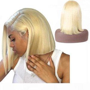 613 Loira Human Human Bundle Wig Bob Bob Glueless Virgem Peruana Previan Prejustada Cabeleireiro 613 Loira Lace Front Wigs Curto Com Cabelo Do Bebê
