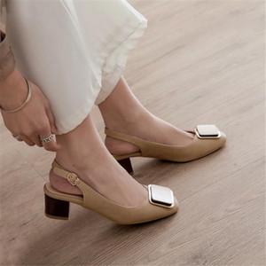 PXELENA 2020 Spring New Women Donne Slingbacks Scarpe Chunky Block Med Heels Pompe Metal Decor Office Lady Dress Daily calzature 34-45