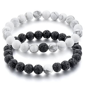 8MM Natural Stone Couple Bracelets Men Women Volcanic Rock Lava Beads Bracelet White Howlite Stone Lovers Distance Bracelet Set Jewelry Gift