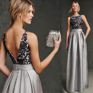 Silver Lace A-line Mother Of The Bride Dresses Long Cheap Satin Ruched Prom Evening Party Wedding Formal Mother Dresses cps224