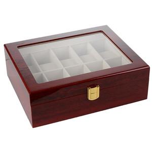 Soporte de madera Pantalla de Cristal con la cerradura Caja de reloj Organizador sólida caja de inicio Regalos antideslizante de la caja de joyería de la vendimia contadores de almacenaje