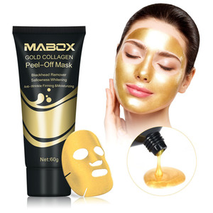 60g Gold Collagen Peel Off Mask 24K Gold Facial Mask Anti Aging Wrinkles Lifting Firming Whitening Tear Off Masks Skin Care FDA MSDS