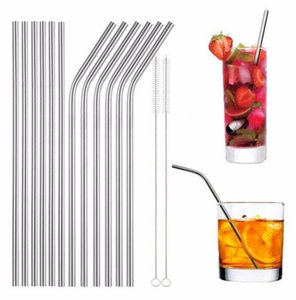 6*215mm stainless steel straw bend and straight 16cm 20cm 24cm 8.5'' stainless steel straw brushes reusable drinking straw W9595