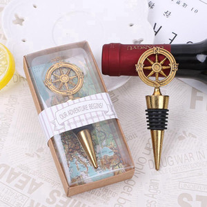 New Arrival Wedding Favors Rudder Wine Bottle Stopper Nautical Themed Compass Wedding Shower Favors Bar Tools RRC3960