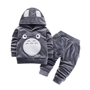 Fashion Children Boys Girls Cartoon Clothing Suits Baby Velvet Hoodies Pants 2Pcs Sets Spring Autumn Toddler Cotton Tracksuits