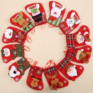 Christmas Stockings Socks Santa Claus Candy Gift Bag Merry Christmas Pendant Decorations for Home Festival Ornaments Navidad OWF3308