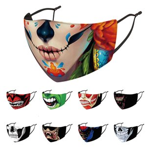 Halloween designer fashion face masks printed facemask dustproof windproof haze washable reusable party mask