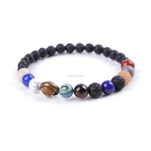 Galaxy Solar system Natural stone bracelet lava rock stone beads Stretch bracelets for women men fashion jewelry will and sandy new