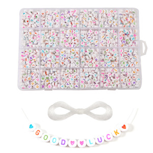 1200pcs box Acrylic DIY beaded English alphabet Flat Alphabet Cube Beads Charms Bracelet Necklace For Jewelry Making DIY Set F1204