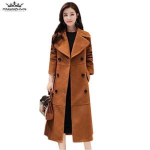 tnlnzhyn 2020 novo outono mulheres faux camurça trench casaco slim curtir colarinho trench casaco feminino windbreaker s-4xl y622