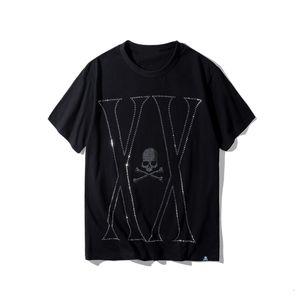 2021 New Mmj Mastermind Japan Hot Flash Diamond Drilling Gun Skull O-neck Short-sleeve Cotton T-shirt Tee White and Black Color 8erz