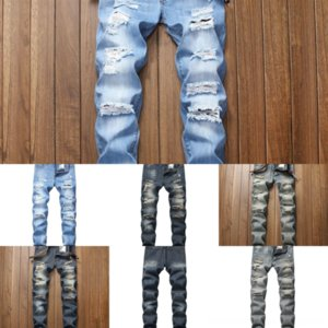 GMKrX Distressed Ripped Skinny Amri Jeans man stretch jeans Hop Fashion Mens Jeans Slim Moto Motorcycle Biker Causal Mens Denim hole Pants