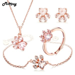 MoBuy Natural Gemstone Heart Rose Quartz 100% 925 Sterling Silver 4pcs Jewelry Sets For Women Bearfoot Fine Jewelry V035EHNR