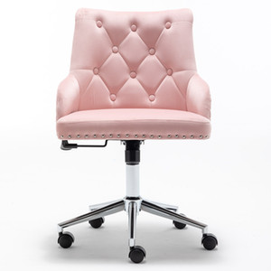 WACO Furniture Home High Back Office Chair with pull ring, Modern Design Velvet Desk Task Chair with Arms in Study Bedroom (Pink)